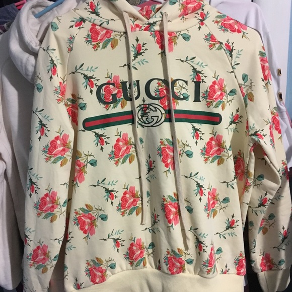 30075560ec1 Gucci Tops - Authentic Gucci Rose hooded cotton sweatshirt
